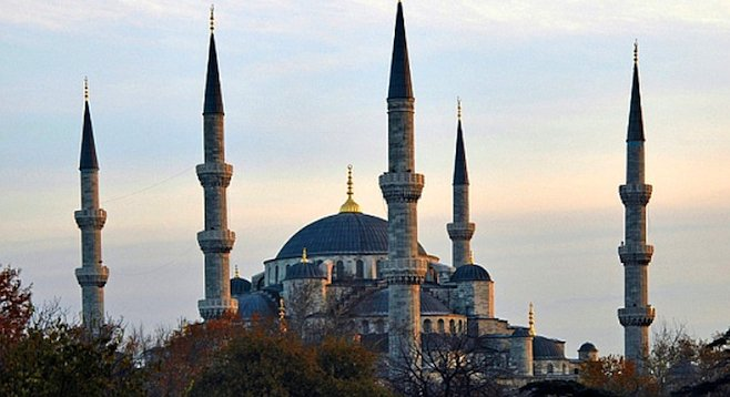 The minarets of Istanbul's 17th-century Blue Mosque.