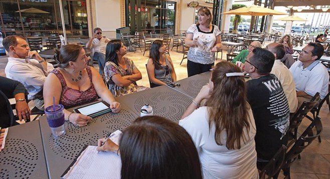 Parents meet at Otay Ranch mall to discuss the district's allocation of Mello-Roos funds. Many feel the funds should stay in the areas where they're collected.