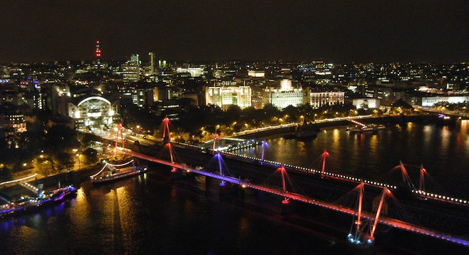 London's bridges were equipped with light displays for the 2012 Olympics, adding a little neon to this panorama at night.
