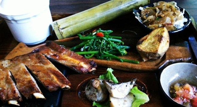 Presentation of aboriginal Taiwanese cuisine at Hualien's Leader Hotel Taroko.