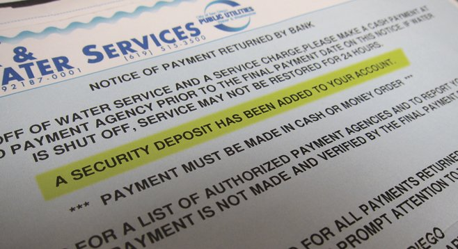 The San Diego Water Department shut off a Scripps Ranch resident's water after a bookkeeping error caused her check to bounce, then charged her a $350 deposit to turn it back on.