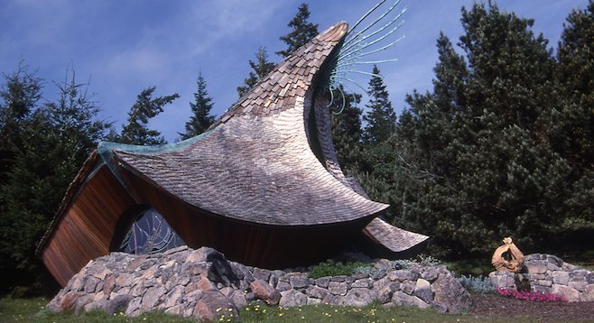 Intended to integrate naturally into its wild surroundings, Sea Ranch Chapel looks like something off a Lord of the Rings set. (photo by James Hubbell, re-used courtesy of hubbleandhubble.com.)