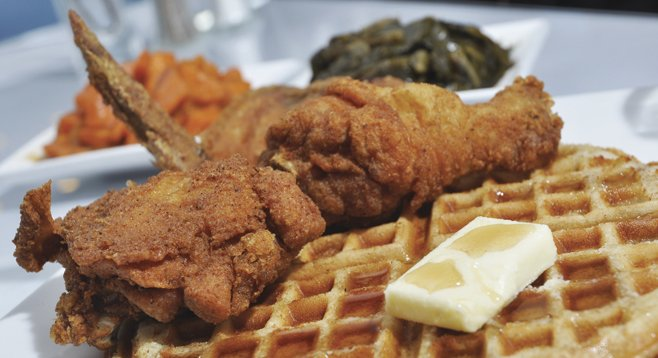 The salt 'n' pepper coating at Stockdale's Fine Southern Cuisine sets the stage for the moist goodness of a chicken thigh you can pick clean.