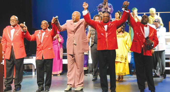 The Gospel at Colonus, with multiple quartets and quintets blazing gospel music, resembles a kaleidoscope in motion.