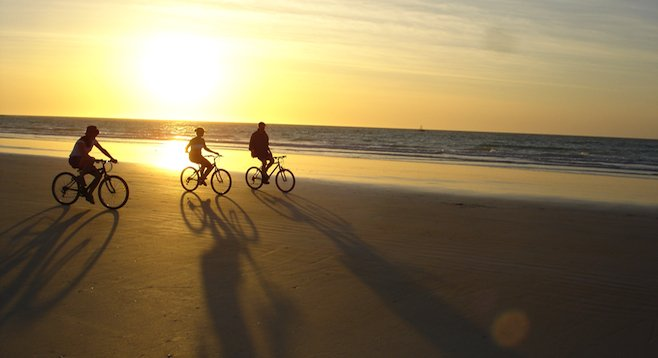 Biking on the sand: Broome, Australia's nearly perfectly flat Cable Beach.