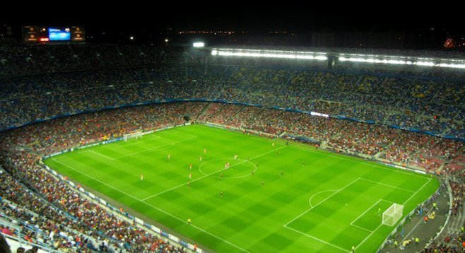 Taking in an FC Barcelona game – not a bad view from the cheap seats.