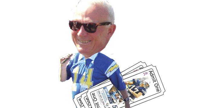 Jerry Sanders has been handing out free Chargers tickets to friends and political allies.