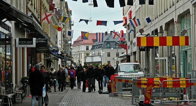 Strolling through one of Gothenburg's hip shopping districts.