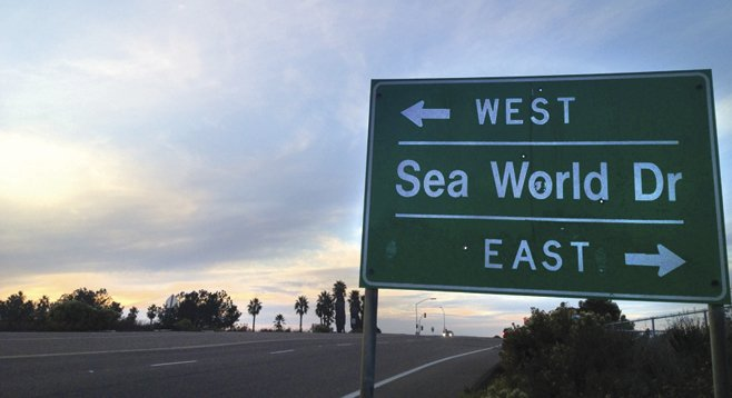 East meets West at Sea World Drive.