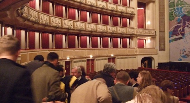 Arriving in Vienna's State Opera House after snagging tickets for 6 Euro.