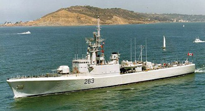 The Canadian destroyer escort Yukon steams along during her active-duty days.
