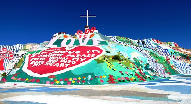 Knight began working on Salvation Mountain in Niland, CA, over 20 years ago, and this is the result.