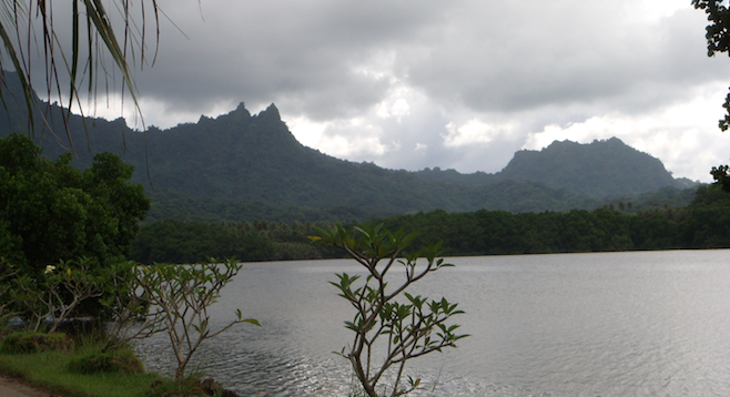 Kosrae island's Sleeping Lady Mountain across the channel – can you see her?