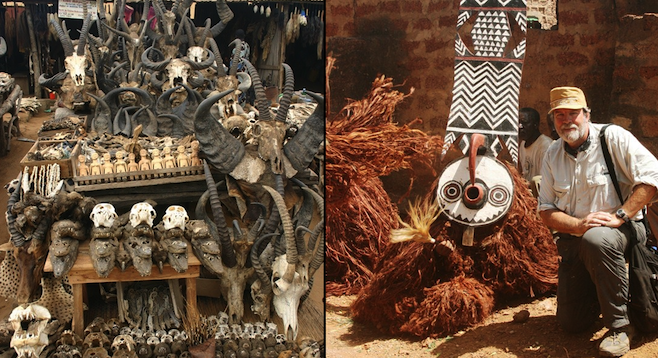Left: Animal skulls at the Akodessewa market; right: the author with a voodoo dancer from the Bwa tribe.