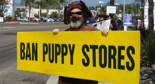 San Diego Animal Defense Team's March 16 protest in front of San Diego Puppy on Mission Gorge Road.