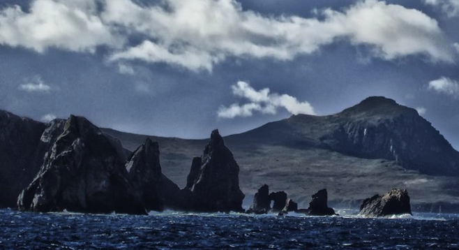 Teeth-like rocks guard Isla Hornos from the west.