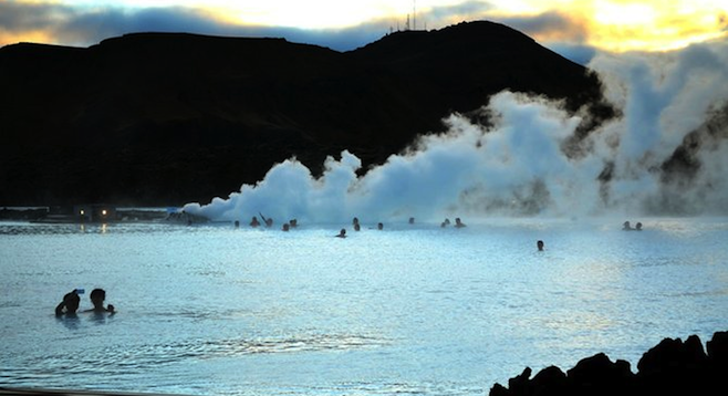 The spa's geothermal bathing area.