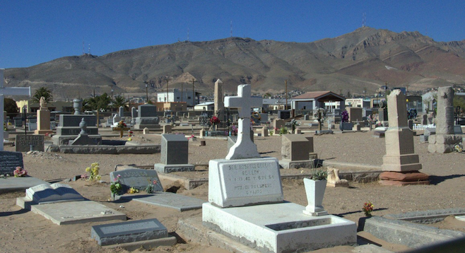 Concordia Cemetery with Franklin Mountains in the background.