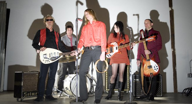 Musician/publisher Stax (center) with his psych-rock band the Loons.