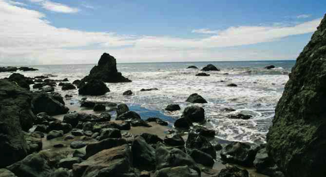 Rocky shoreline of Muir Beach, a 40 minutes' drive north of San Francisco.