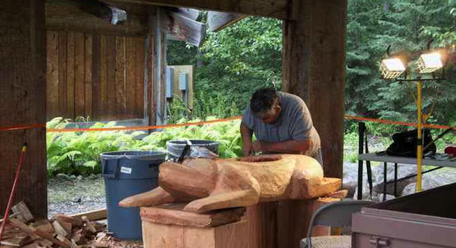 Sculpture in progress at Anchorage's Alaska Native Heritage Center.