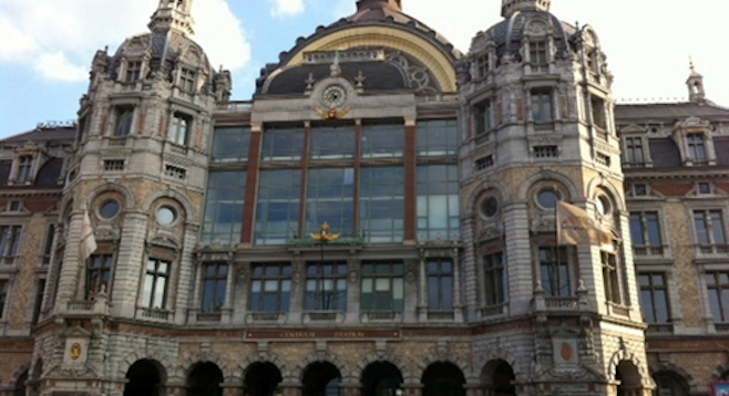 Antwerpen-Centraal, the city's main railway station.