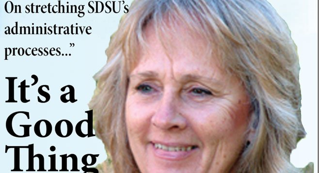 Outbound SDSU official Sally Roush justified her $230,400 annual salary by bringing in gargantuan donations, including a $7 million stock donation from John Moores.