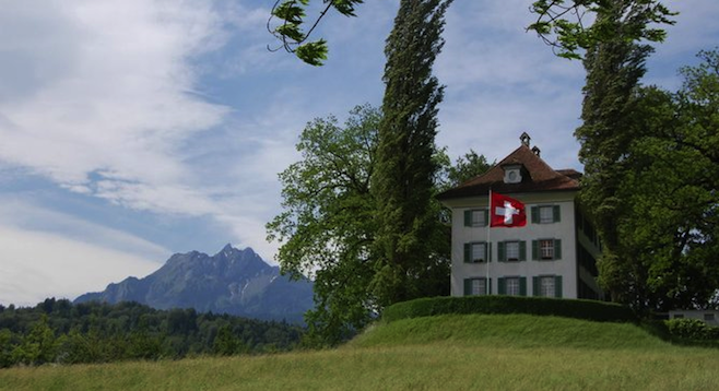 Lucerne's Richard Wagner Museum with Mt. Pilatus behind it.