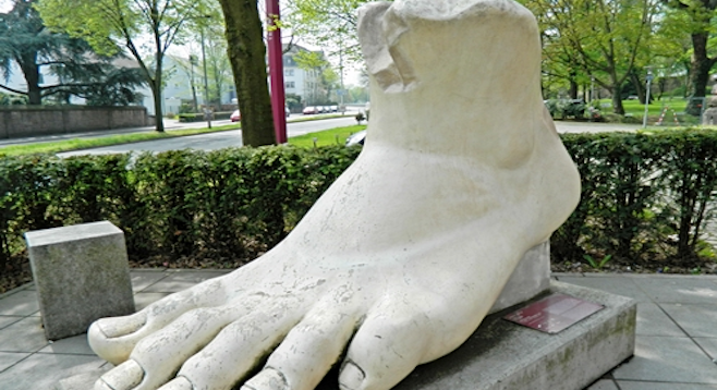 Outside Trier's Landesmuseum, an ancient Roman foot.
