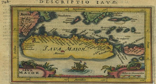 Late 16th-century map of Java, including Bantam. (courtesy of Wattis Fine Art, Hong Kong)