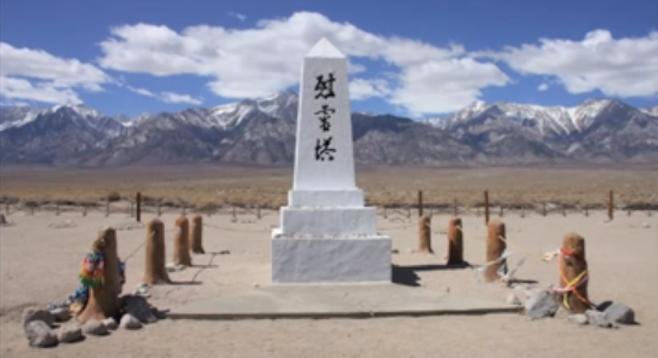 Manzanar memorial, snow-capped Sierras in the background.