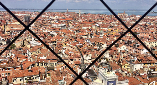 View from the bell tower of St. Mark's Basilica.