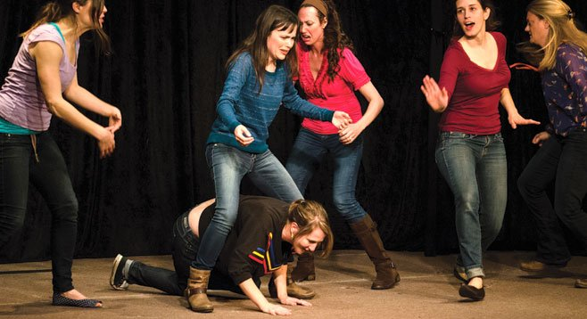 "Improv troupe ""Swim Team"" performing at Swedenborg Hall."