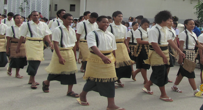 Tongans in traditional dress.