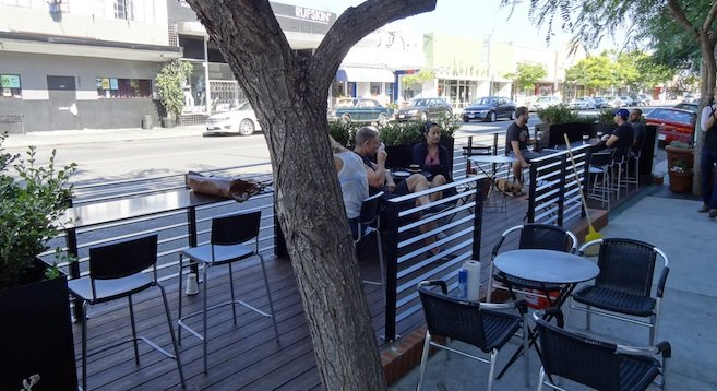 Parklet pictured prior to the dedication