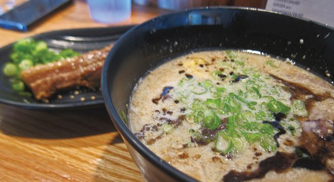 "Kirk K. says, ""I add some nice fatty buta kakuni, simmered pork belly, to my bowl"" at Ramen Yamadaya."