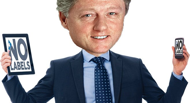 "Perhaps he's sick of being labeled. Bill Clinton backs the non-partisan ""citizens' movement"" No Labels."
