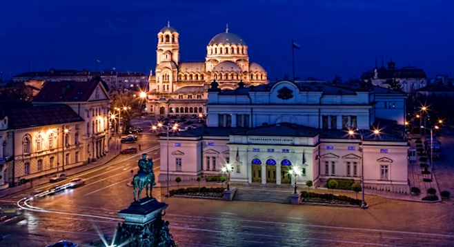 Sofia's Parliament Square at night.  (stock photo)