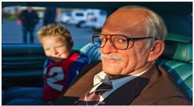 The irrepressible Irving Zisman (Johnny Knoxville) with slightly-addled 8 year-old grandson, Billy (Jackson Nicoll).