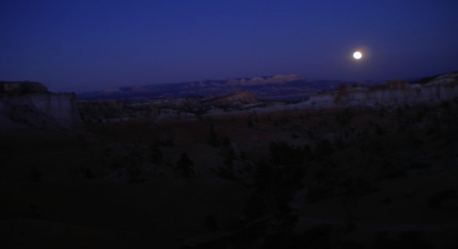 Moonlight over Bryce Canyon National Park.