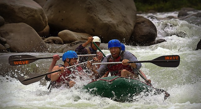 Author (right) whitewater rafting on El Rio Toro.