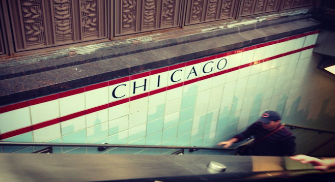 A not-so-elevated El train stop, Chicago.