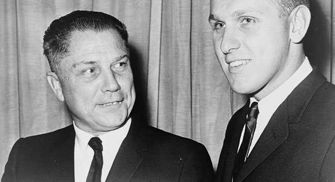 The body of Jimmy Hoffa (left) may be hidden under the pile of money the Teamsters (now run by Hoffa's son Jim, right) have spent to elect David Alvarez.