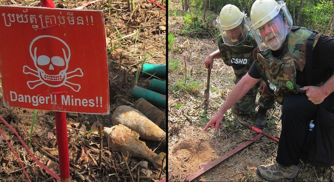 Danger: unexploded mines (left); author and anti-personnel mine (right).