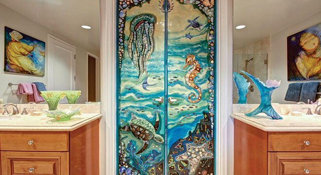 Stained-glass artist Roxana Tlanesi was commissioned to create nine interior doors.