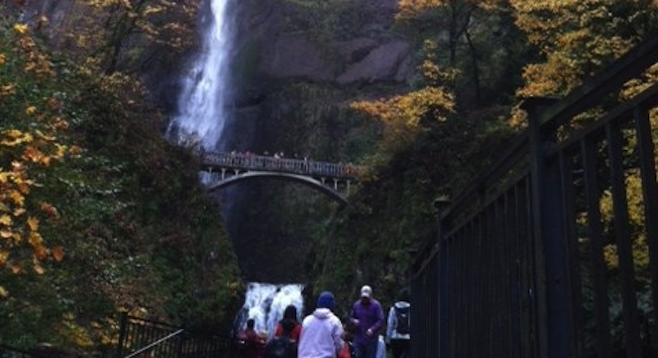 Approaching Oregon's awe-inspiring Multnomah Falls.