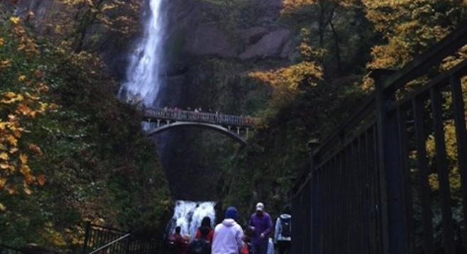 Approaching Oregon's awe-inspiring Multnomah Falls.