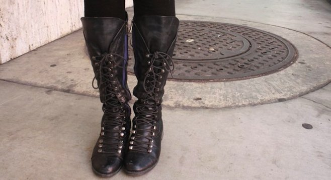 Alyssa Andujar's lace-up boots