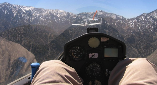 Being towed up in a glider, Angeles National Forest ahead.