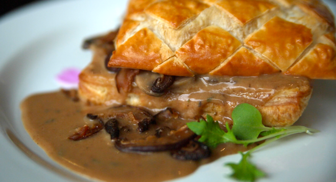 Delectable and savory mushroom and fontina cheese tart.